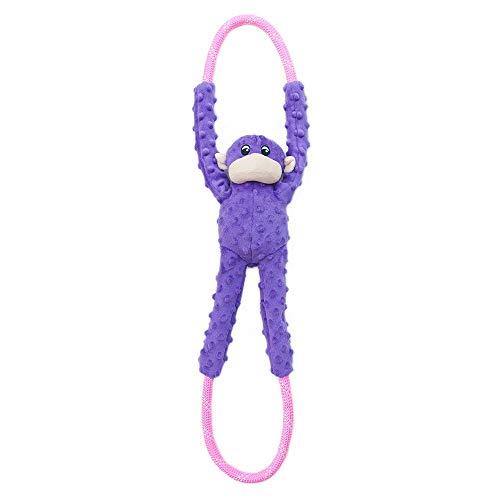 ZippyPaws hondenspeelgoed aap RopeTugz met piepelement en touw, Eén maat, paars