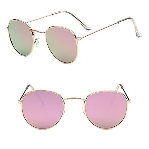 ShSnnwrl Único Gafas de Sol Sunglasses Gafas De Sol De Metal Vintage para Hombre, Espejo Clásico, Retro, Street Beat, Gafas Redon