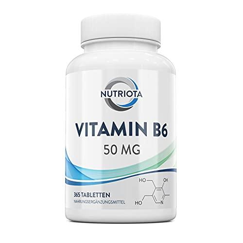 Vitamin B6 50mg   365 hochwirksame vegane Tabletten   Trägt zu einem gesunden Stoffwechsel, einer normalen Funktion des Nerven- und Immunsystems bei   Trägt zum Abbau von Müdigkeit bei   Von Aceso
