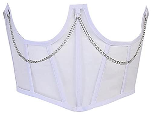 EUDOLAH Damen Korsett mit Netz und Kette Retro Gothic Oberteil Unterbrust Figurformer gekreuzte Schnür-Bruststütze Shapewear Weiß S