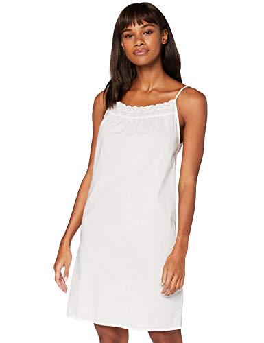 Iris & Lilly Damen Ärmelloses Nachthemd aus Baumwolle, Weiß (Weiß), M, Label: M