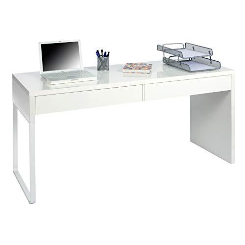 Habitdesign - Mesa Escritorio, Mesa de Ordenador Modelo Touch, Medidas: 138 cm (Largo) x 50 cm (Ancho) x 75 cm (Alto) (BL. Brillo)
