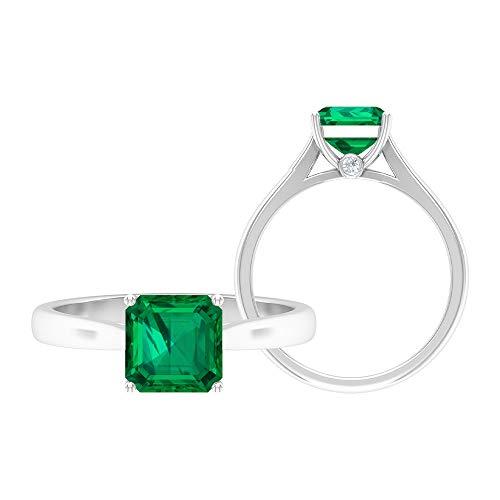 Anillo solitario de corte Asscher de 7 mm, anillo de moissanita D-VSSI, anillo de compromiso de oro blanco de 14 quilates verde