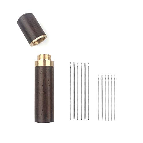 Owden 12Pcs Leather Hand Sewing Needles, Professional Small Eye Design for Leather Hand Stitching Needle. 2 Sizes and Each 6Pcs.