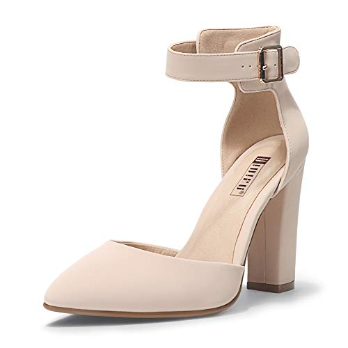 IDIFU Women's IN4 Pedazo High Block Heels Pumps Pointed Closed Toe Ankle Strap Dress Wedding Shoes (Nude Nubuck, 8.5 M US)