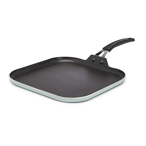 Ecolution Impressions Hammered Cookware NonStick Square Griddle Pan Dishwasher Safe Riveted Stainless Steel Handle 11 Inch Sage