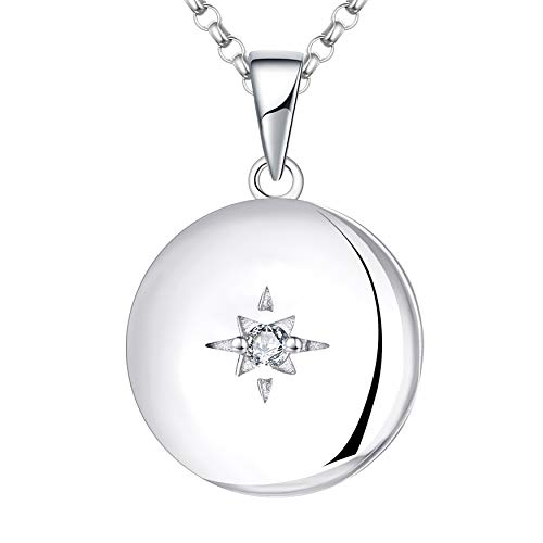 JO WISDOM Collar de Foto Medallón Plata de Ley 925 Mujer, Collar de Estrella Polar Joyas AAA Circonita Piedra natal de Abril,Joyas para Mujeres Niña Mamá