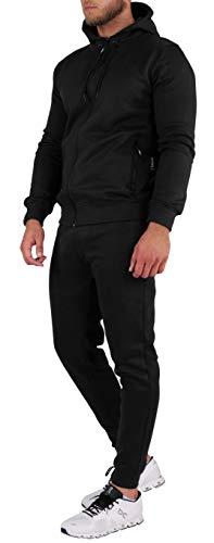 opoppy Jogging Herren 2-teilig mit Kapuze (XL, schwarz)
