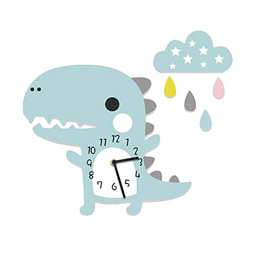 Martin Kench Kinder Wanduhr Dinosaurier mit Wolken, Uhr ohne Tickgeräusche, Kinderuhr, Lautlos Uhrwerk, Wanddeko Junge (Blau)