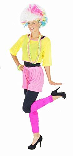 Foxxeo 80er Jahre Aerobic Kostüm für Damen Karneval Fasching Neon Party Netzshirt Größe S