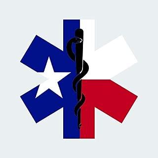 Texas State Shaped EMT Flag Sticker FA Graphix Vinyl Decal Die Cut EMS Paramedic TX - 1.25 Wide
