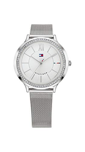 Tommy Hilfiger Women's Quartz Watch with Stainless-Steel Strap, Silver, 14.1 (Model: 1781862)