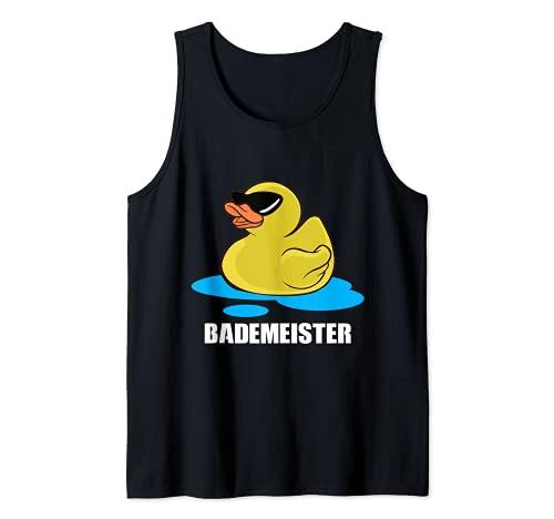 Lustige Gelbe Badeente Quietscheente Schwimmen Bademeister Tank Top