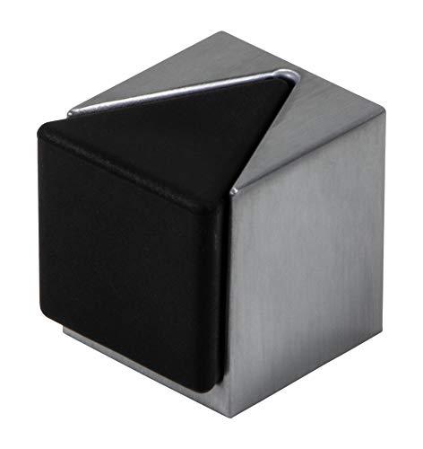 Gedotec Boden-Türpuffer Edelstahl Türstopper eckig - KIRA | Gummi-Puffer für Boden-Montage | Anschlagpuffer Metall zum Schauben oder Kleben | 1 Stück - Design Stopper silber mit Befestigungsmaterial