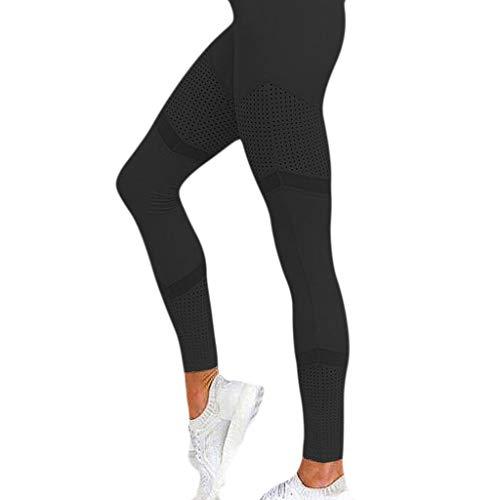 MOTOCO Leggings für Frauen mit hohem Bund und weitem Komfort, extra bequem, aushöhlen der Größen 34-40(XL(40),Schwarz)