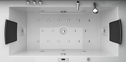 Jet-line Whirlpool Badewanne Villa Eugenie II LED Sondermodell Düsen komplett innen beleuchtet Badewanne Luxus Spa Weiss Handbrause Armatur Kopfstützen Radio Heizung Vollausstattung XXL