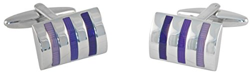 David Van Hagen Silver/Violet Curved Rectangle Trois Tone rayé boutons de manchette de