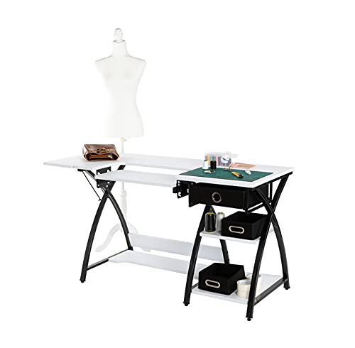 Oshion SCT-57 Sewing Machine Table Cutting Table Worktable Computer Table- White, Sewing Craft Table, Art Desk Workstation, Multi Storage,Functional Table - Exquisite Craftsmanship