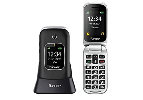 Teléfono Móvil Funker C85 Easy Comfort Negro con Tapa para Personas Mayores con Botón SOS Base Cargadora Negro