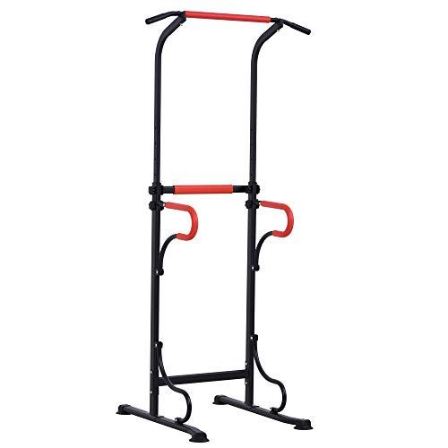 homcom Barra per Trazioni Power Tower Stazione da Fitness con Altezza Regolabile 171-219cm in Acciaio Nero Rosso