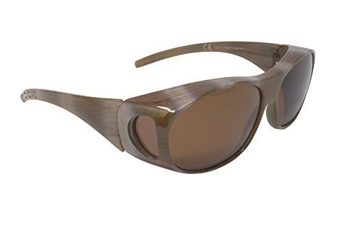 FALINGO Sonnenüberbrille Überzieh Sonnenbrille FLEXI EDITION polarisiert UV 400 (Beige, Braun)