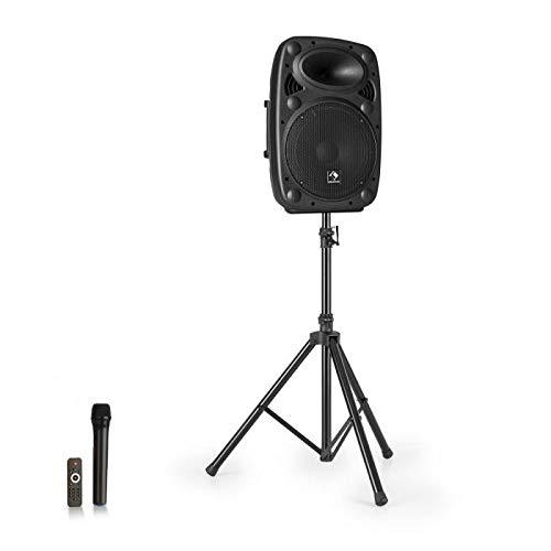 auna Streetstar 10 - Equipo de PA portátil con trípode , Subwoofer de 25,5 cm , Pantalla LED , 400 W de Potencia , Tecnología XMR Bass , Salida de línea , Bluetooth , USB , SD , MP3 , AUX , Negro