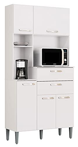 SZ Suarez Alacena Lusaka Color Blanco Cocina 4 armarios 2 cajones Estilo Moderno almacenaje Mueble 185x90x38 cm