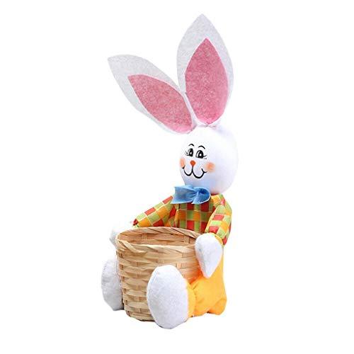 YUHUISTART Fröhliche Ostern Thema Cute Bunny Ostern Korb Eier Süßigkeiten Geschenke Lagerung Kunsthandwerk Kaninchen Tasche Party Dekoration Kinder Geschenk (Yellow)