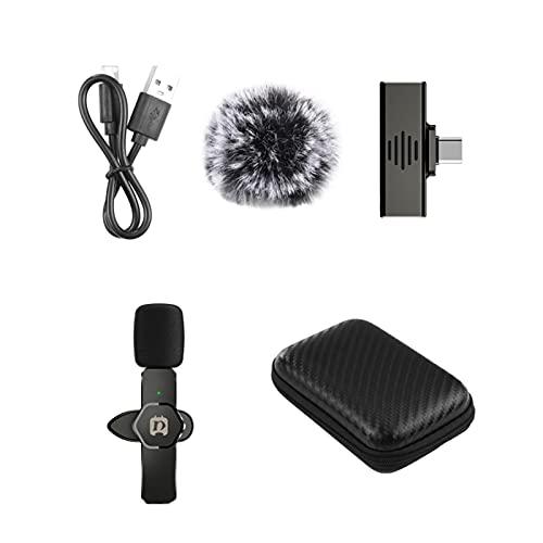 H HILABEE Micrófono Inalámbrico Lavalier Micrófono Mini Mic Micrófono para Grabación para