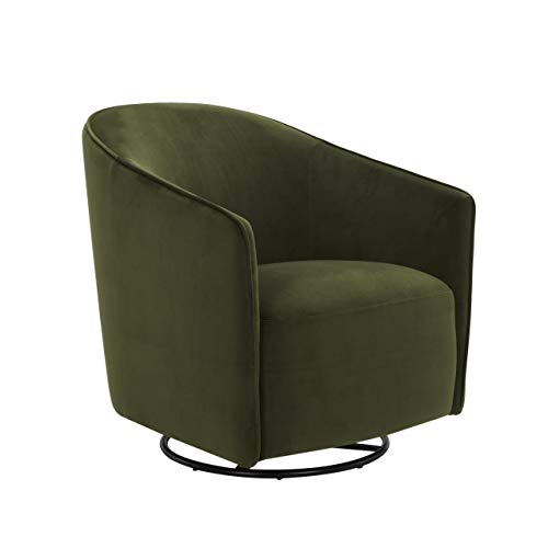 Amazon Brand – Rivet Stowell Modern Velvet Glider Chair with Curved Back and Arms, 29.5'W, Forest Green