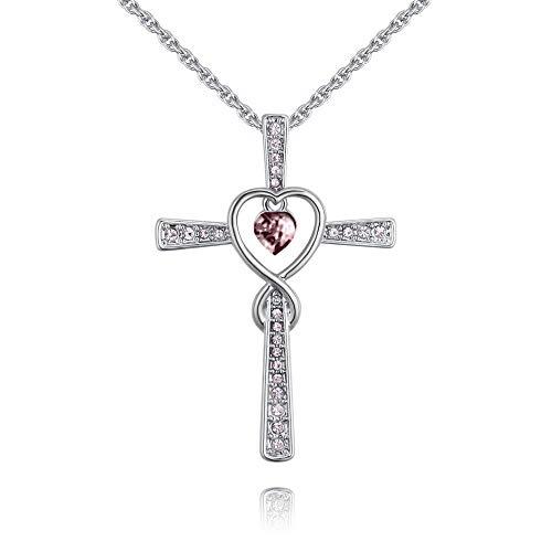 QUADIVA G! Collana da donna a forma di croce con cuore – Cross with Heart – VR (colore: oro bianco/Vintage Rose cristallo a cuore) decorata con cristalli di Swarowski®