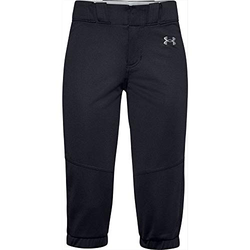 Under Armour Girls' Softball Pants , Black (001)/Baseball Gray , Youth Large