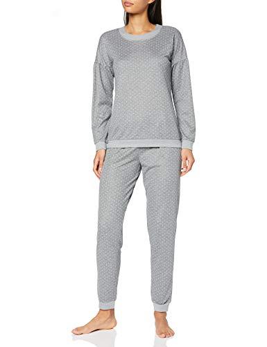 LOVABLE Warm Fabric Set di Pigiama, Pois Grigio Melange Scuro, S Donna