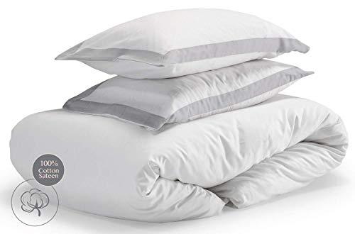 savastextile Satin Bettwäsche 135x200 Baumwolle - Bettwäsche Weiß Baumwolle 2 Teilig – Cotton Linen Bed Cover Bett Wäsche – Bettmachen Mako Satin – Weiße Bettwäsche Creme + 1 Kissenbezug