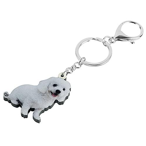 Ksydhwd Llavero Acrílico Blanco Bichon Frise Perro Llaveros Adorable Mascota Animal Llavero...
