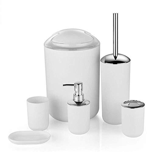 TWDYC Plastik Badezimmer-Sechsteilige - Flüssig Flasche Toilettenbürste Cup Zahnbürste Cup Soap Box (Color : White)