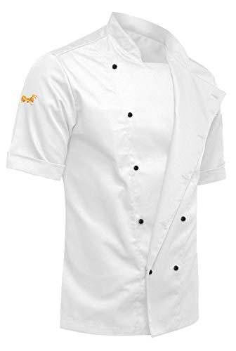 strongAnt - Chaqueta de Chef para Hombrecon Botones de Bola, easyClean, Fácil de Planchar, Repelente de Suciedad, con Mangas Cortas, Limpieza fácil - Color: Blanco Antracita, Talla: XL