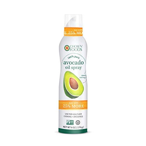 Chosen Foods 100% Pure Avocado Oil Spray 6 oz., Non-GMO, 500° F Smoke Point, Propellant-Free, Air Pressure Only for High-Heat Cooking, Baking and Frying (1)