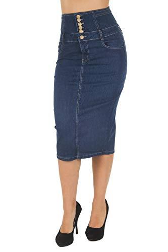 Women's Juniors Below Knee Length Midi Pencil High Waist Denim Skirt in Blue Size XL