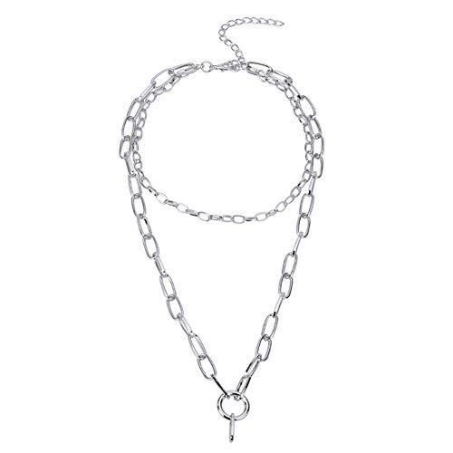 Drawihi Damen Halskette Mode Elegant Mehrschicht Kette Legierung Clavicle Necklace Schmuck Zubehör (Silber) 38+9 cm