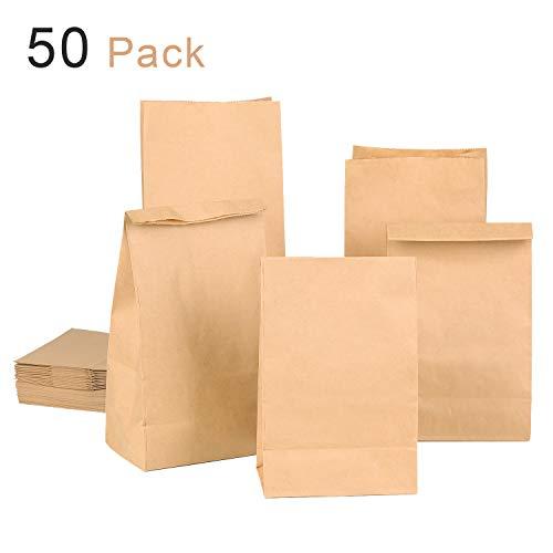 KATELUO 50 Stück Papiertüten,groß 14 x 26 x 8 cm Praktische Bodenbeutel, auch, Obstbeutel, Mitgebseltüten Butterbrottüten Süßigkeiten Geschenkverpackung
