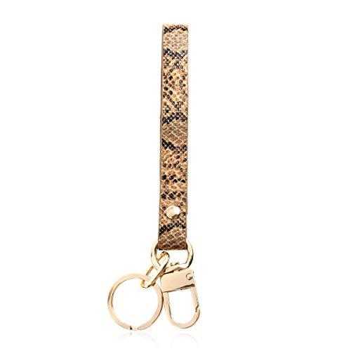 Cute Keychain Bag Charm Key Ring - Purse Pendant Tassel Fruits, Animals, College Team, Wristlet Strap Lanyard (Wrist Lanyard - Snake Multi Brown)