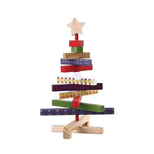 DELICLI 11.5' Adjustable Multi-Colored Wooden Decorative Christmas Tree Tabletop Decoration