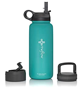 the flow Stainless Steel Water bottle – Wide Mouth with Straw Lid, Carabiner Lid and Flip Lid