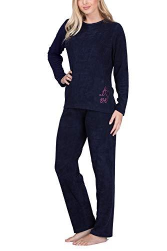 Moonline Frottee-Schlafanzug für Damen mit Motivdruck, Farbe:Navy, Größe:48/50