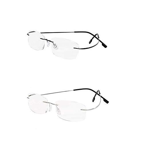 KoKoBin 2 Pacco Occhiali da lettura senza montatura per occhiali da lettura in titanio superleggero per signore e signori +2.0