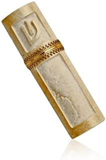 Jerusalem Stone Mezuzah with Antique Gold Band and Hebrew Letter Shin