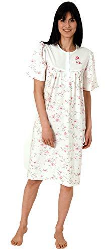 Creative by Normann Damen Nachthemd Kurzarm mit 105 cm Länge und Kopfleiste am Hals - 65276, Farbe:Creme, Größe:48/50