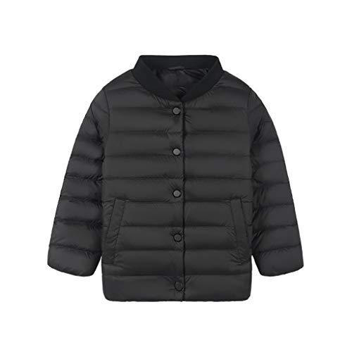 VIVIANE Mädchen Daunenjacke, Kinder Unten Jacke, Baseball-Trikot, Trägt Eine Leichte Daunenjacke for Männer Und Frauen (Color : Black, Size : 110/56)
