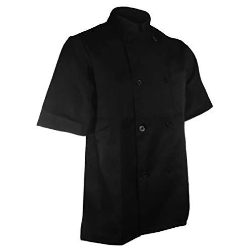 ChefsCloset Unisex Short Sleeve Button Black Chef Jacket XL Chef Coat